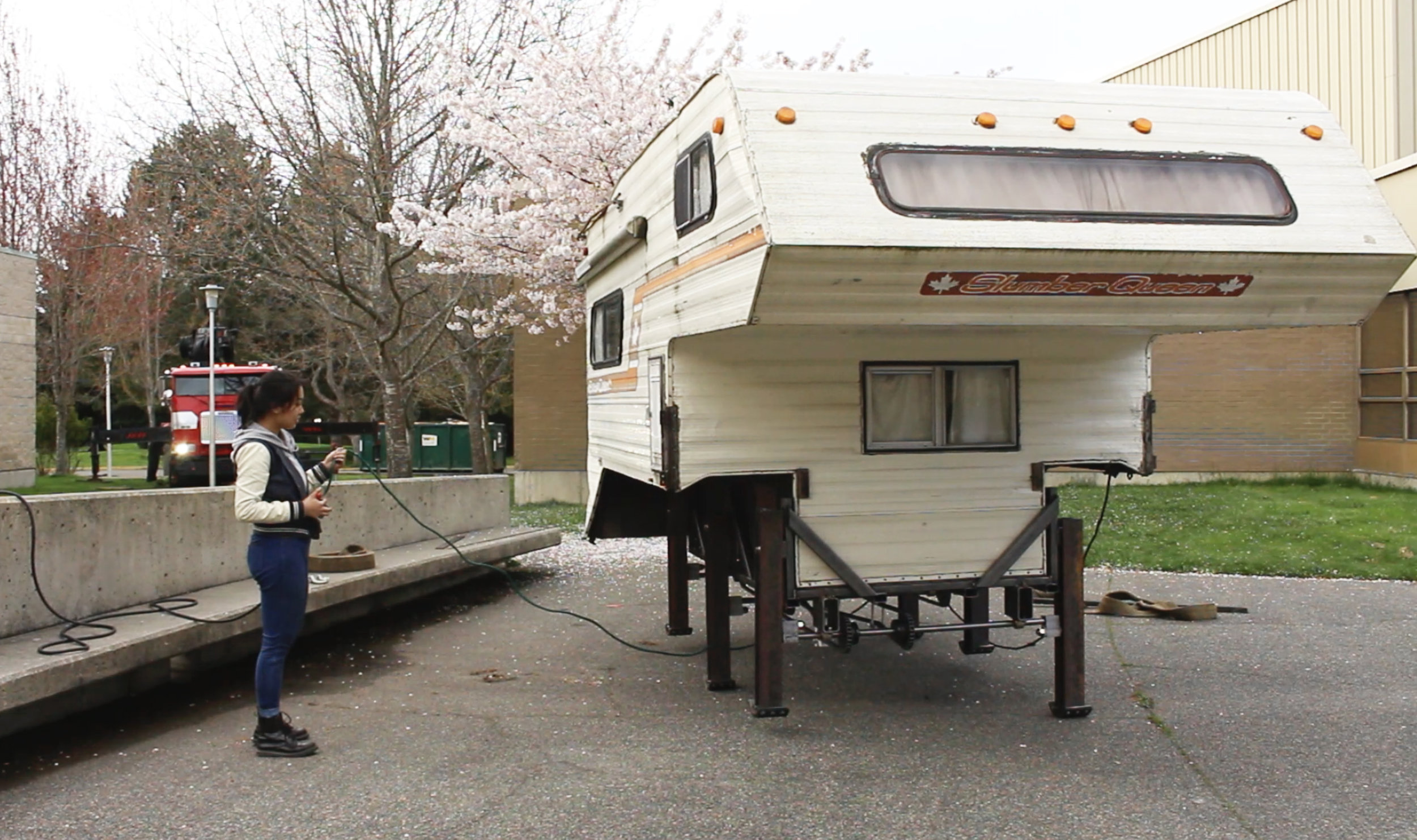 (Camper taking its first step after crane assembly)