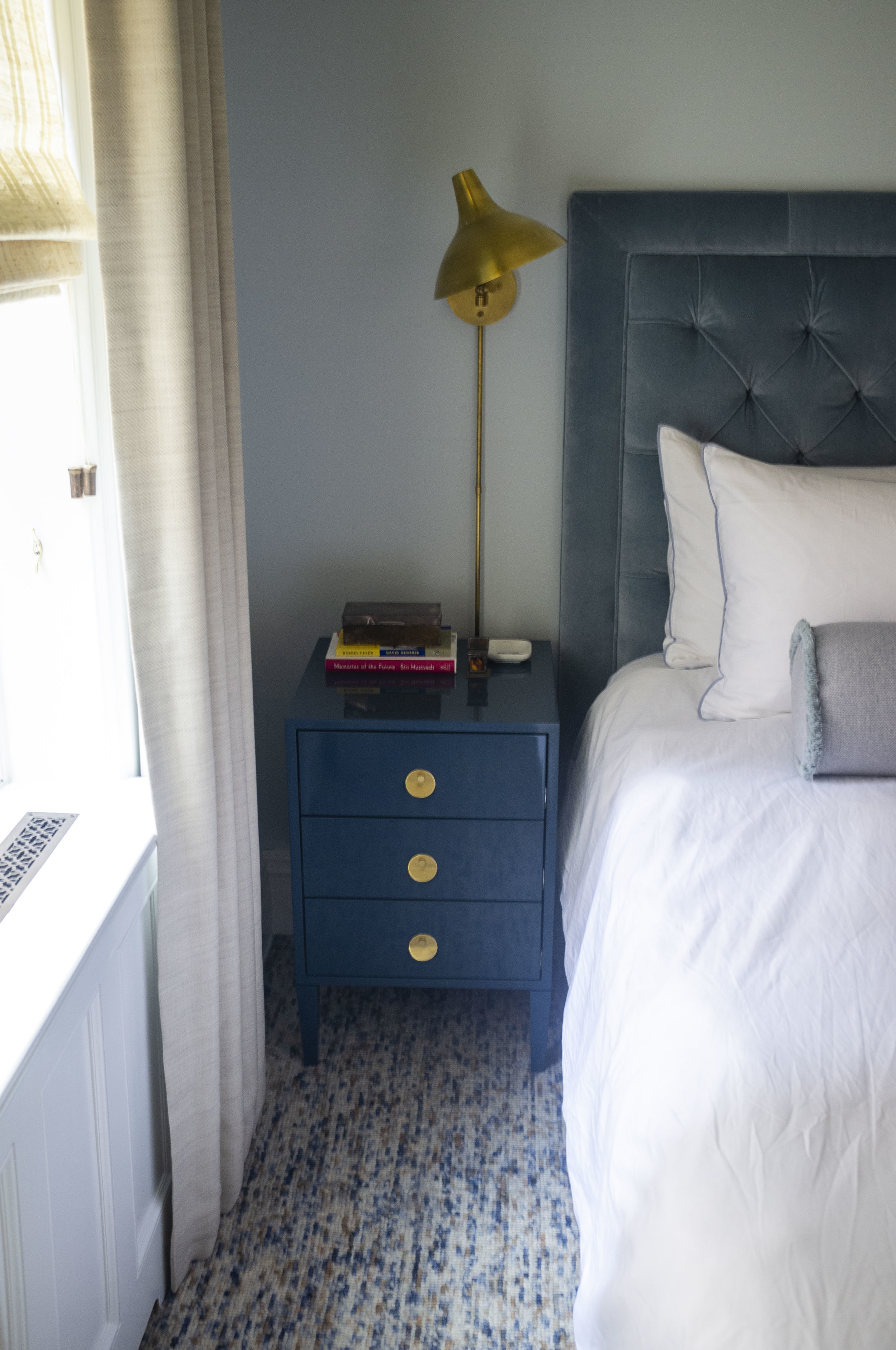 Barrow Bedside Table, Oxford Blue Lacquer, Small