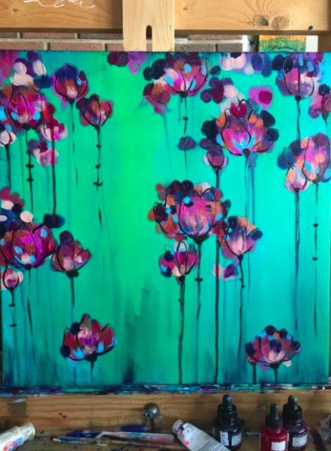 """""""Bloom"""" Art & Wine Workshop with artist Kyla Alty  Wednesday April 12th, 2017 at 7pm  Outside the Shape  1222 10th Ave SE, Calgary AB  Join us for Kyla Alty's spring themed """"Bloom"""" Workshop where you will be painting a mixture of floral, fresh and invigorating! Through different layers of paint and colour, create something feminine and unique by playing with different shades and palettes that inspire you. Jump into spring with this fabulous workshop kiss those winter months goodbye.  www. kylaalty.com  @kylaalty (Instagram)  Included in your night: - a gallery quality wrapped canvas  - all paint and supplies ( including: paint, brushes, knives, palettes, aprons) - 2.5 hours of art instruction  - three glasses of wine with an appetizer pairing  - a professionally guided tasting for each wine"""