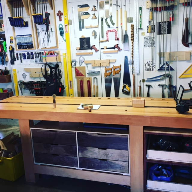 Workbench in place with inserted tool cabinet.