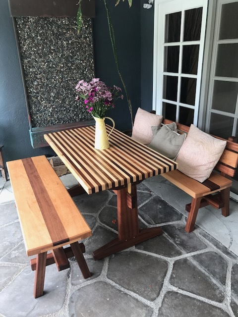Outdoor table and benches.