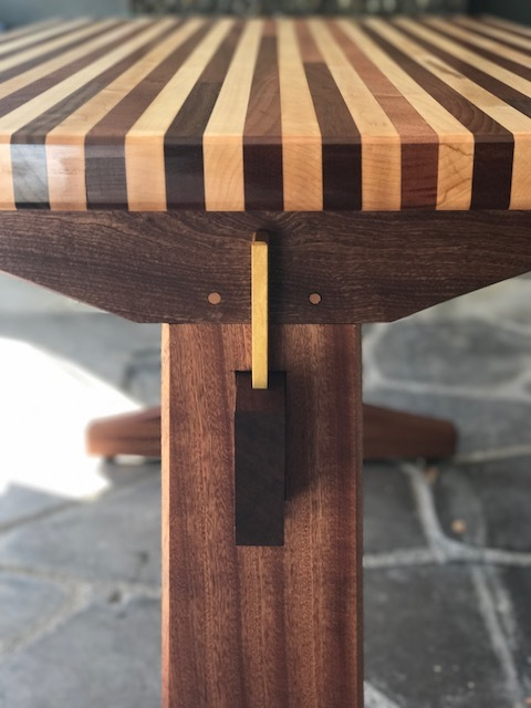 Detail of joinery of the outdoor table.