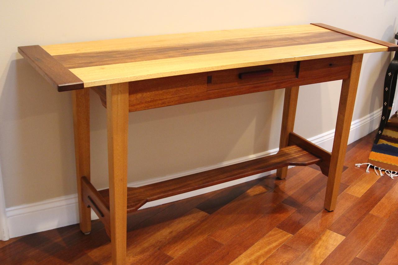 Hall table on mahogany.