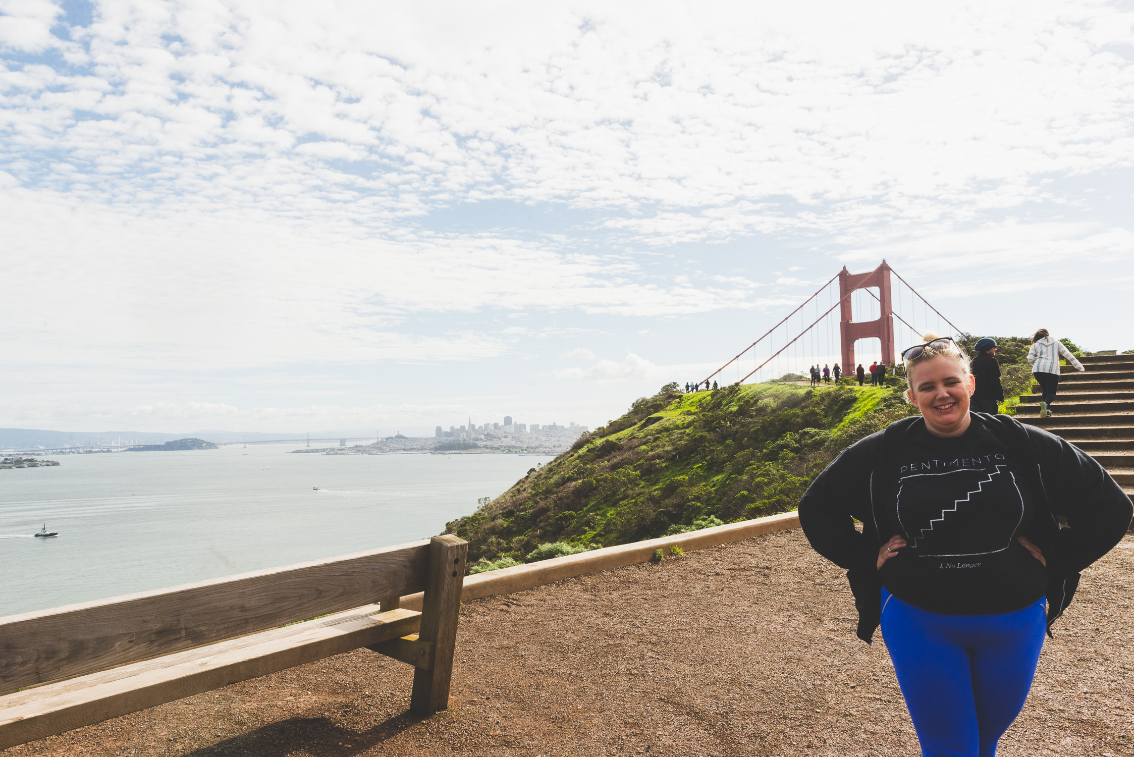Standing in front of the Golden Gate Bridge. / 1/30/15 / San Francisco, CA