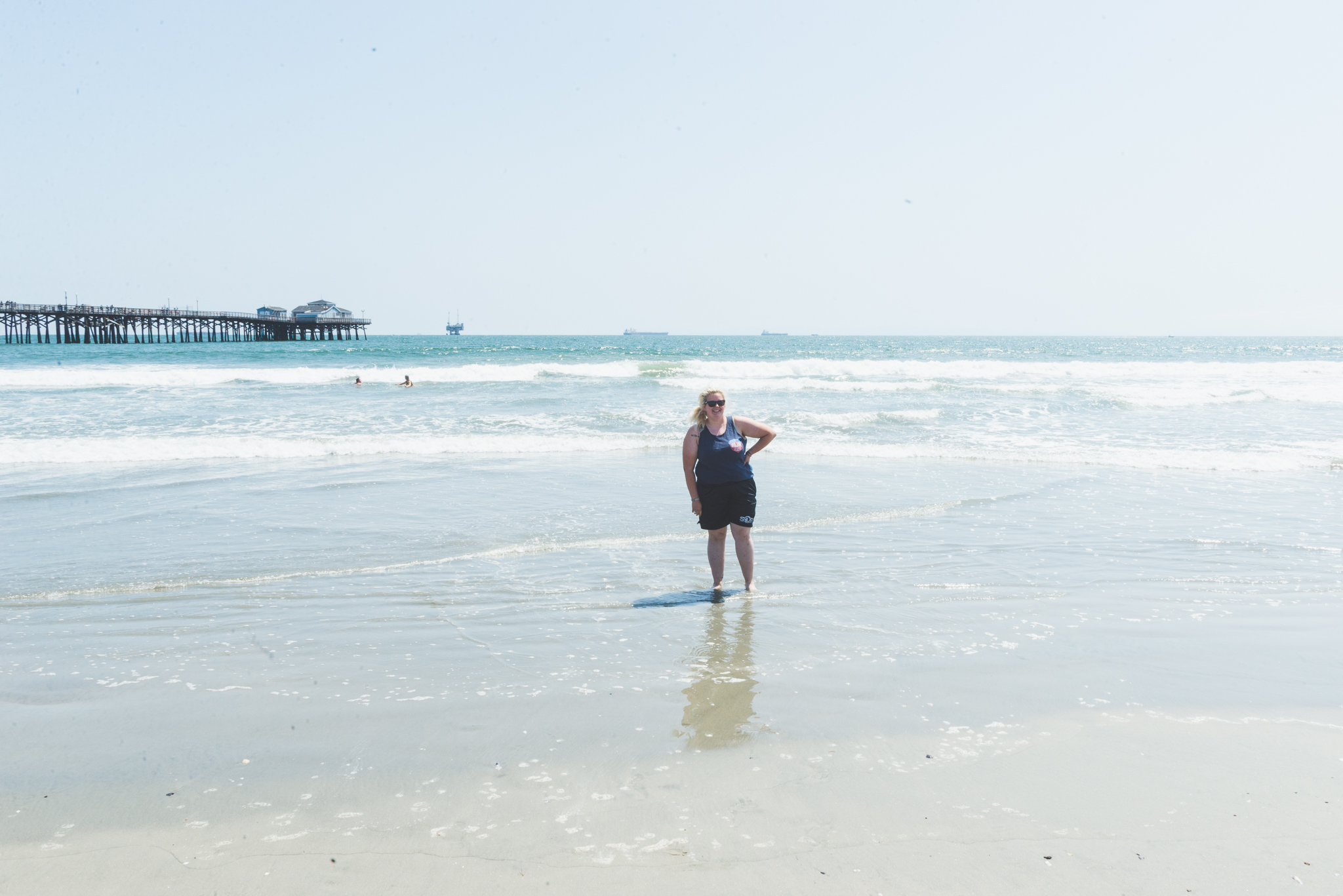 Testing the waters- thanks Emily for taking this photo. / 5/14/16 / Seal Beach, CA