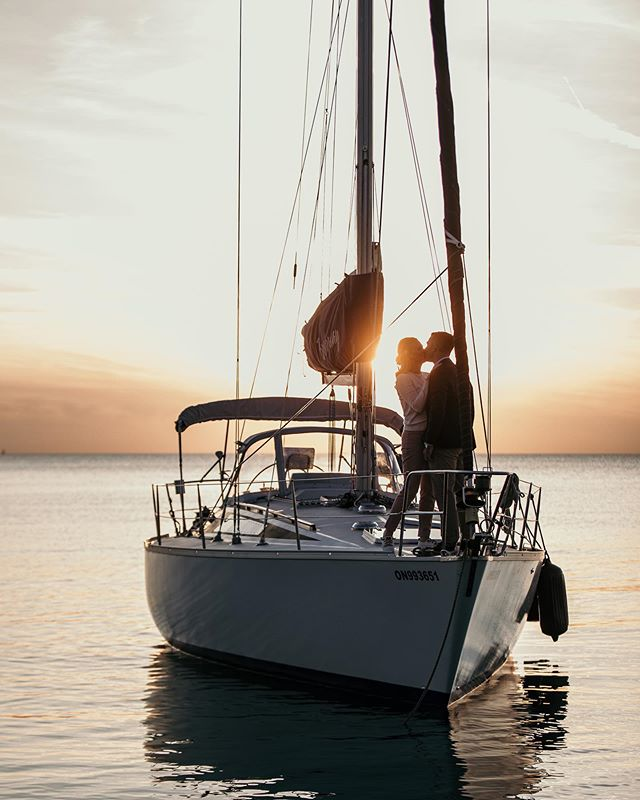 Sunset sail with these beauties.  #lakehuron #sunsetengagement #sailboatengagement #dirtybootsandmessyhair #engagementphotos #lovestories