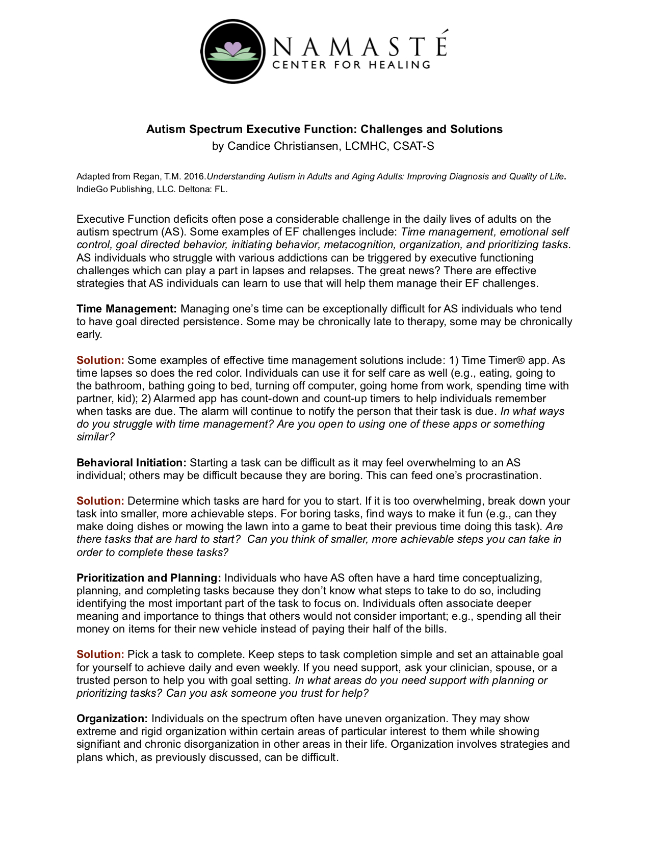 Autism Spectrum Executive Function: Challenges and Solutions - By Candice Christiansen, LCMHC, CSAT-S, C-EMDR