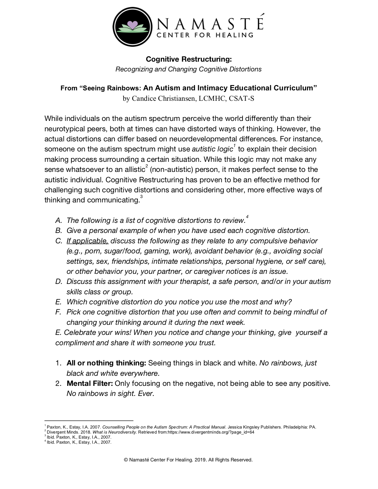 Cognitive Restructuring: Recognizing and Changing Cognitive Distortions - by Candice Christiansen, LCMHC, CSAT-S