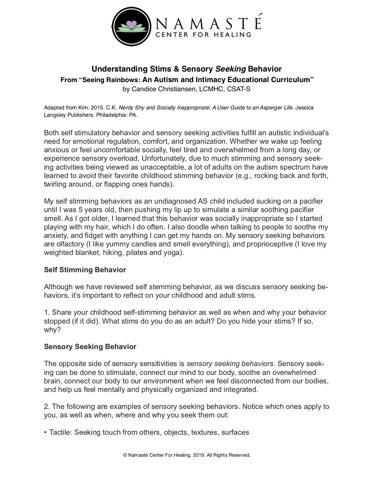Understanding Stims & Sensory Seeking Behavior - by Candice Christiansen, LCMHC, CSAT-S
