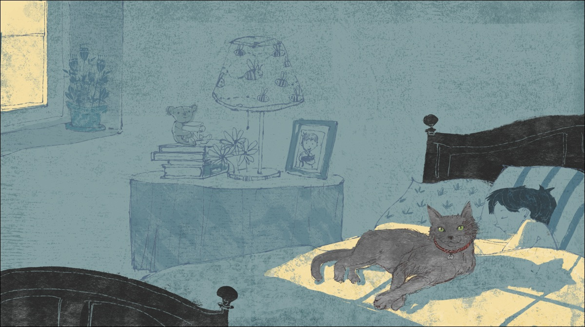 Illustration of a Russian Blue kitty from  The Maine Coon's Haiku . By Lee White.