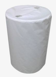 Water Barrel covers make the tent look uniform white.