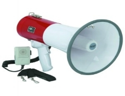 50 Watt Air horn-Projects up to 1 mile.        2 modes: Talking and Sirens.