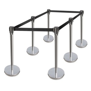 "36"" High Stanchions with retractable black belt."