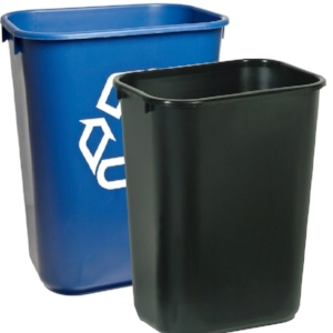 Trash and Recycling bins come in a variety of sizes
