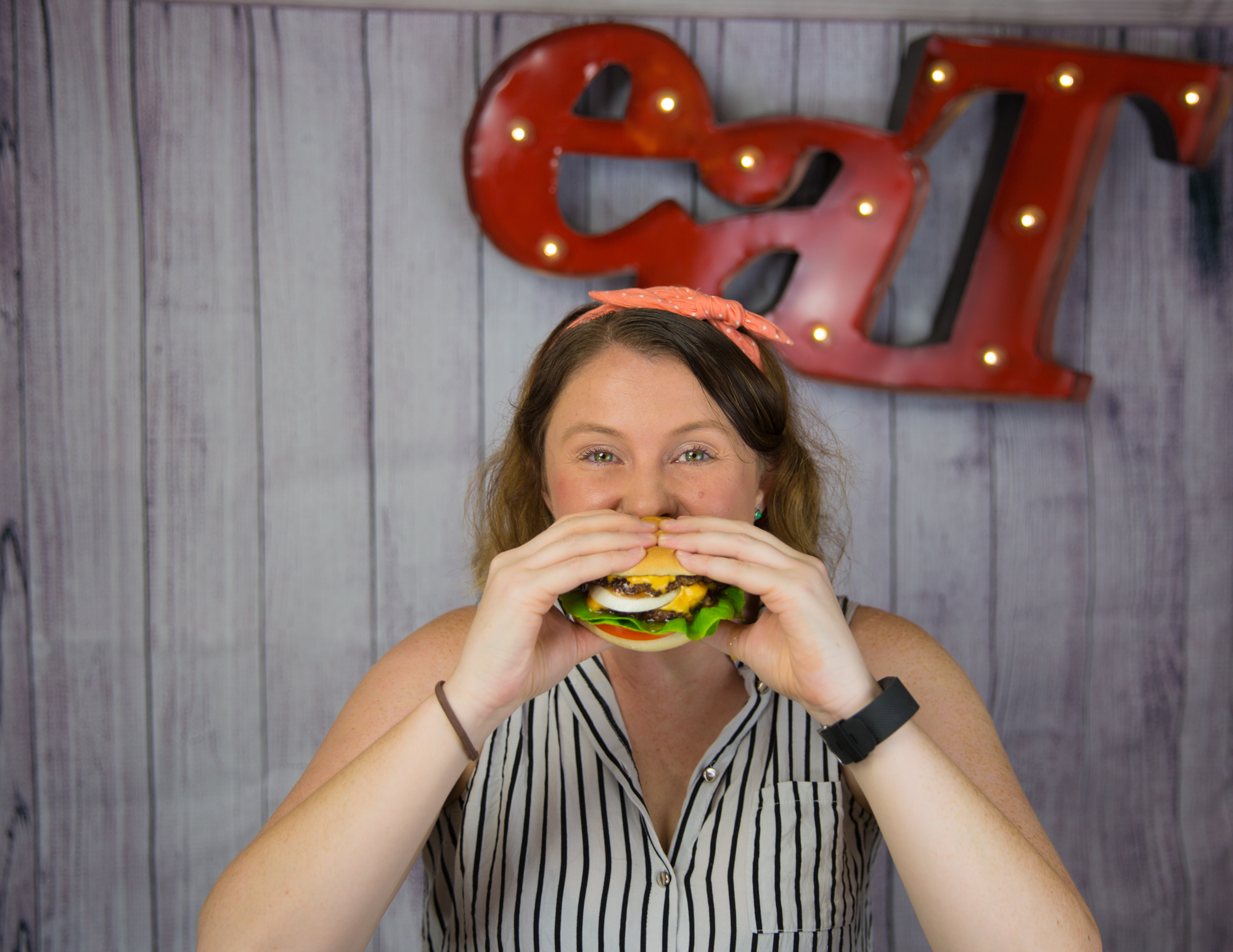 My recreation of In-N-Out's famous 'Double Double' burger, modelled by a friend.  For News.com.au, March 2016.