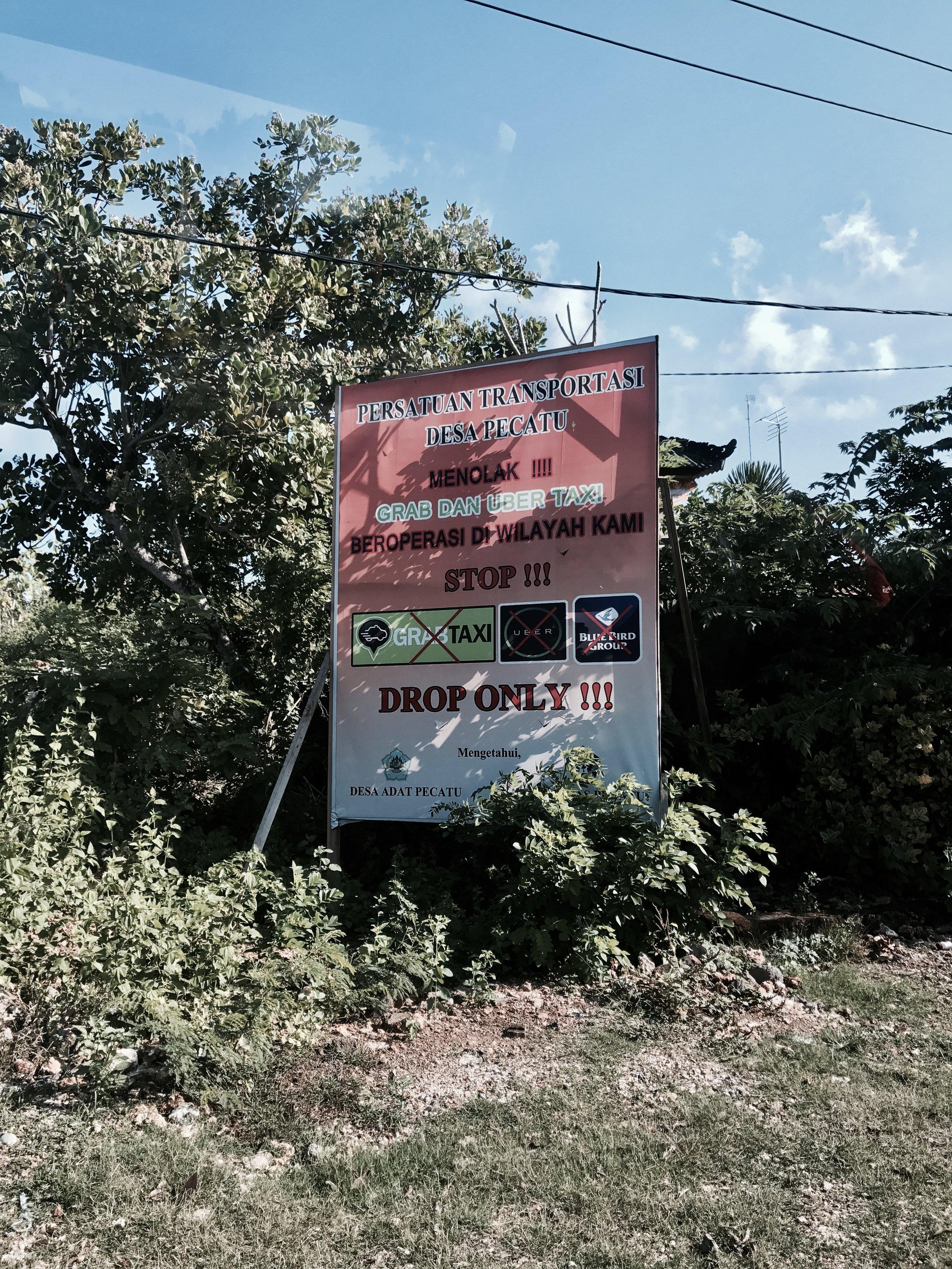 Signage in Canggu and Ubud
