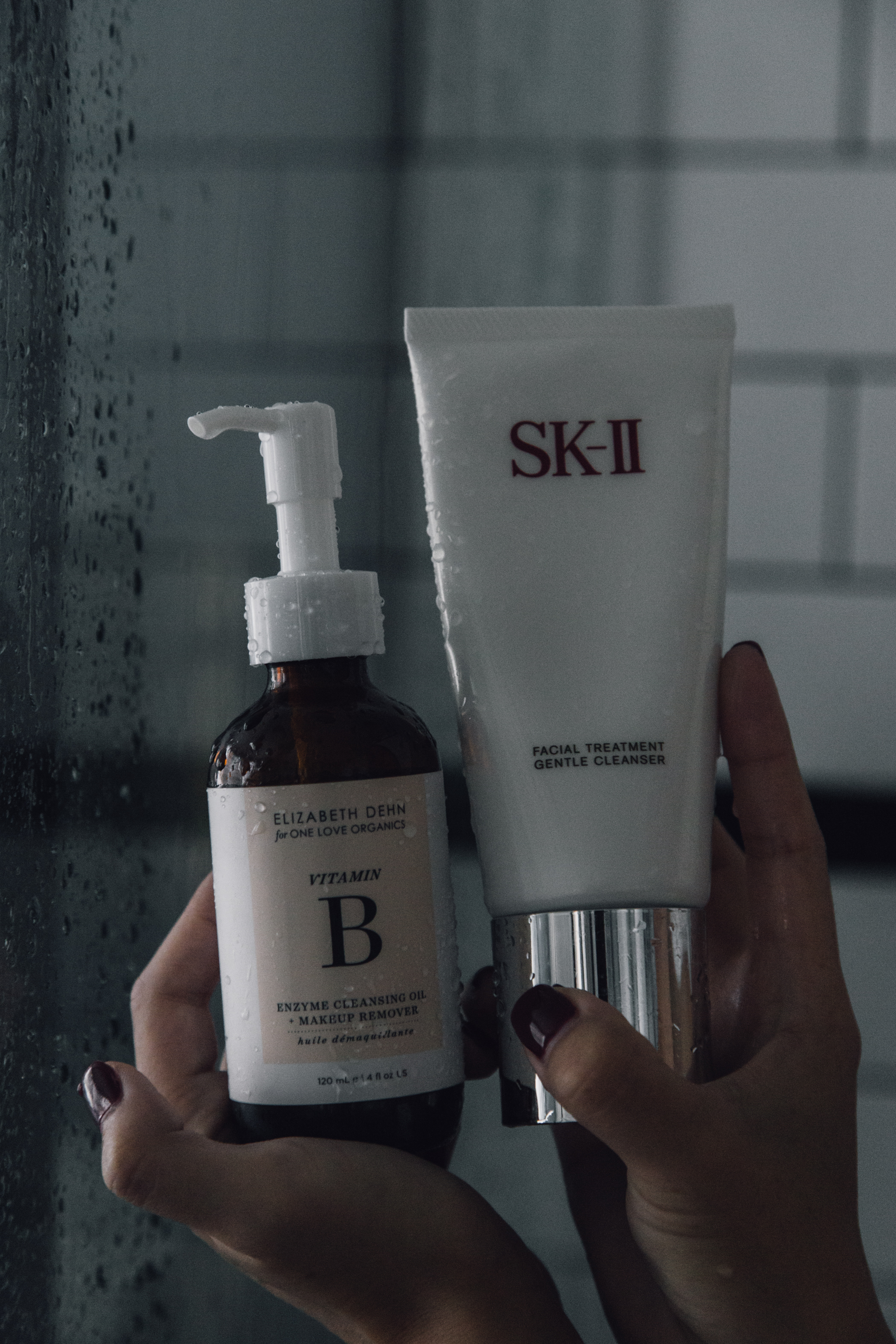 2. Double Cleanse - I'm a huge fan of double cleansing -- and I like to do this in the shower because I can conveniently (and easily) wash my face after. My favorite is the Elizabeth Dehn (organic) Cleansing Oil because it immediately breaks down my makeup, and I like to follow it up with a gentle cleanser from SK-II.Shop this oil cleanser.