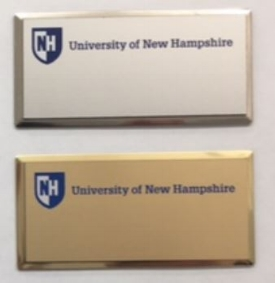 UNH Silver / Brass Metal Name Badges (Shown with standard UNH Crest Logo)