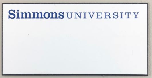 Simmons Plastic Badges - Available in Silver, Gold and White