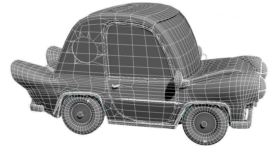 Looney Toon Car Wireframe