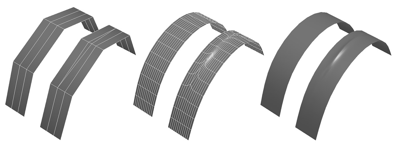 A tri added on a curved subdivided surface.