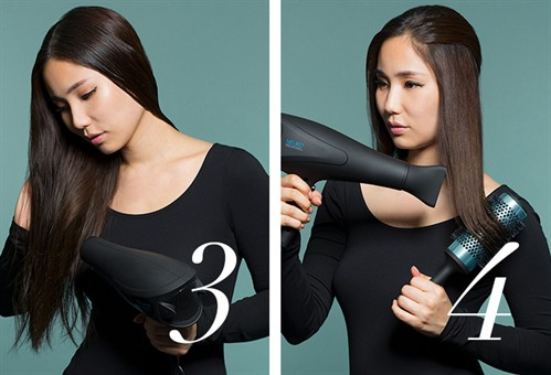Then blowdry your locks, drying hair in the direction you want your ponytail to sit. Once your base is dry, use your  Neuro Round and brush through your ends to create a smooth, shiny polish.