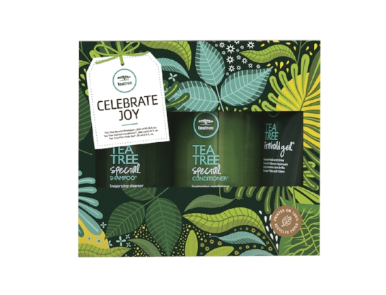 Celebrate Joy – Tea Tree Special    INVIGORATES THE HAIR & THE SENSES   Tea Tree Special Shampoo® 300ml   Tea Tree Special Conditioner® 300ml   Tea Tree Firm Hold Gel® 75ml   RRP £32.00