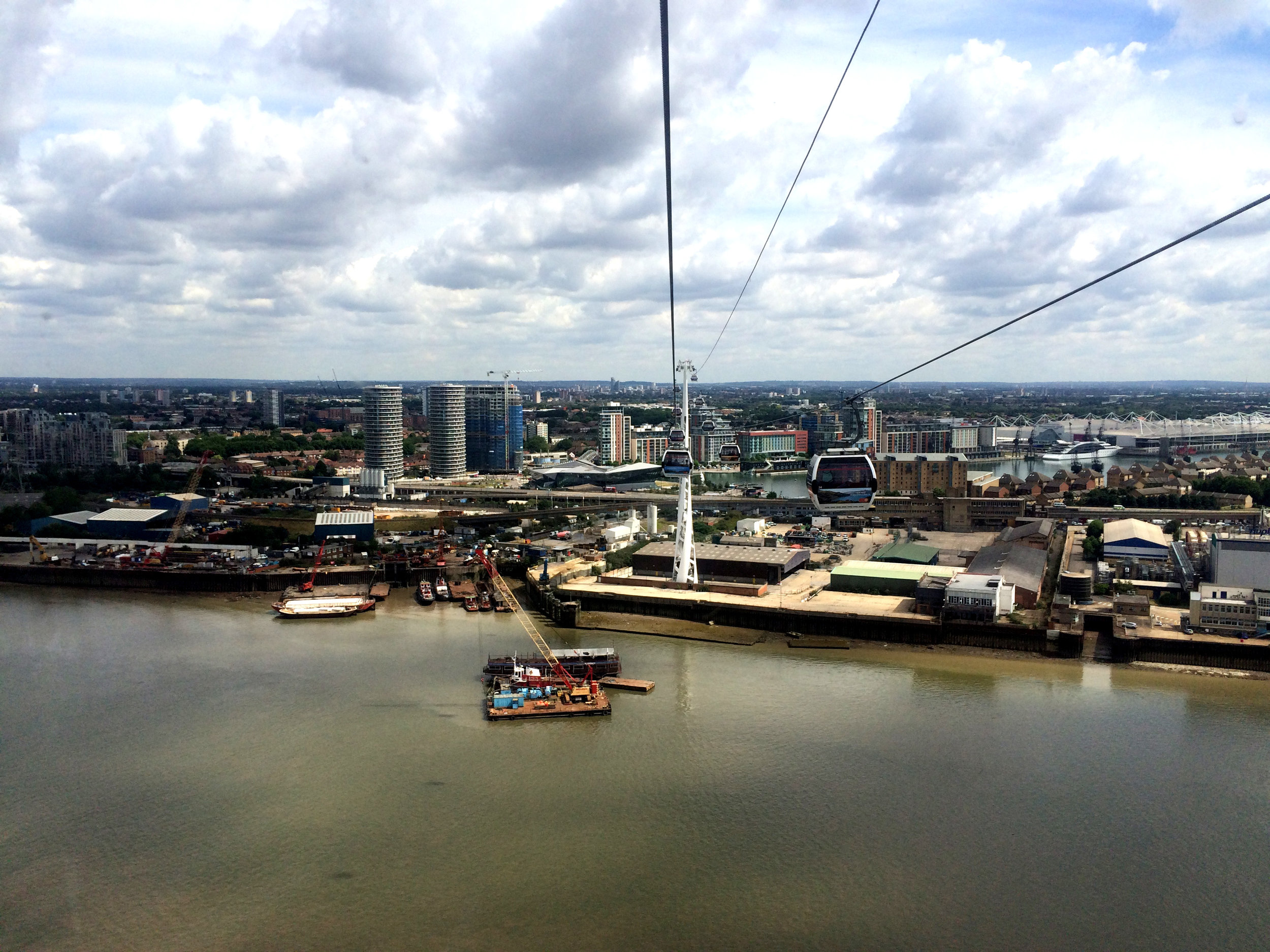Looking north over the Thames shows the extent of development around the Royal Docks