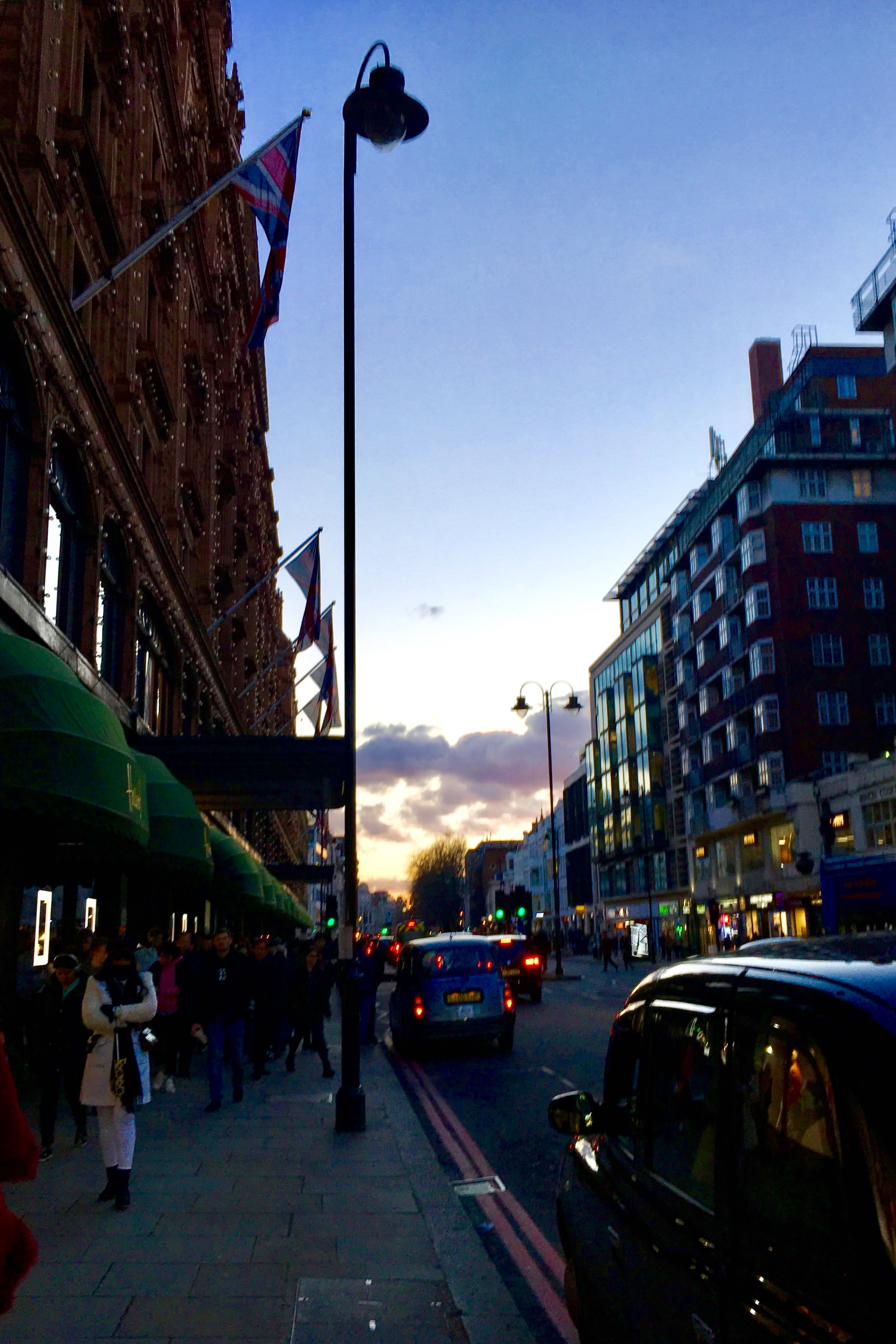 Beautiful sunset outside Harrods