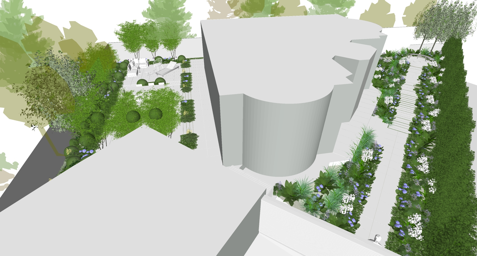 M1639 - Design and installation of landscape surrounding a private residence in north London.  Design: Modular