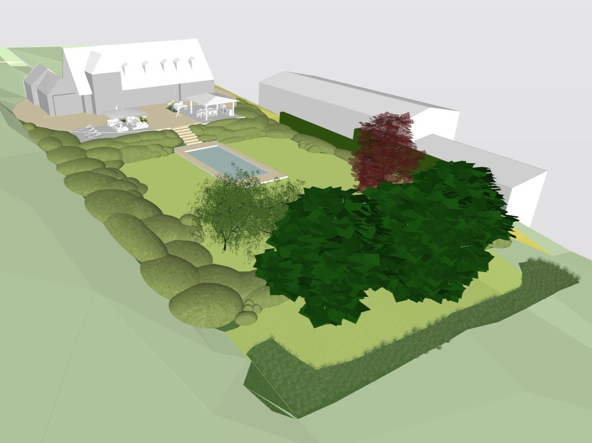 M1647 - Design and installation of landscape surrounding private residence in Windsor.  Design;  Modular