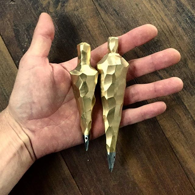 Faceted brass plumb bobs. These are prototypes for the juror's award and people's choice awards for  #designslamknox 2019. There's something about the weight and density of a solid brass plumb bob that feels good in the hand. #contemporarycraft #themakercity