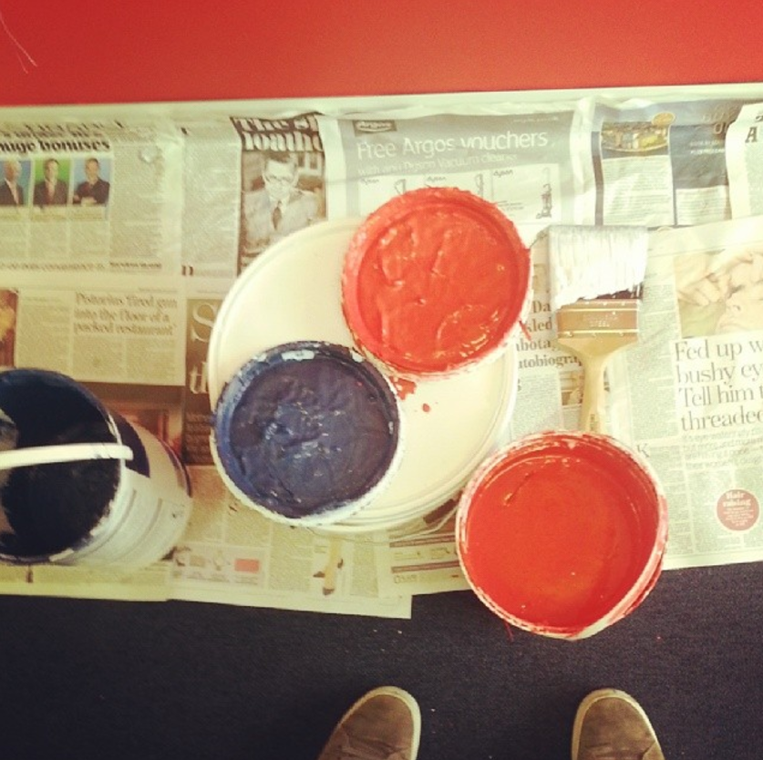 Red and blue paint.