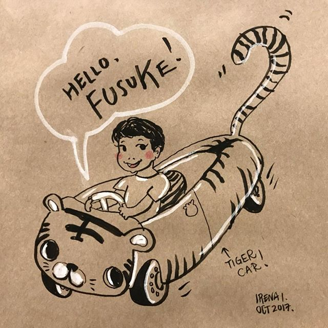 Had lunch with this boy today 🐯 #curiousfusuke #illustration #portrait #tigercar