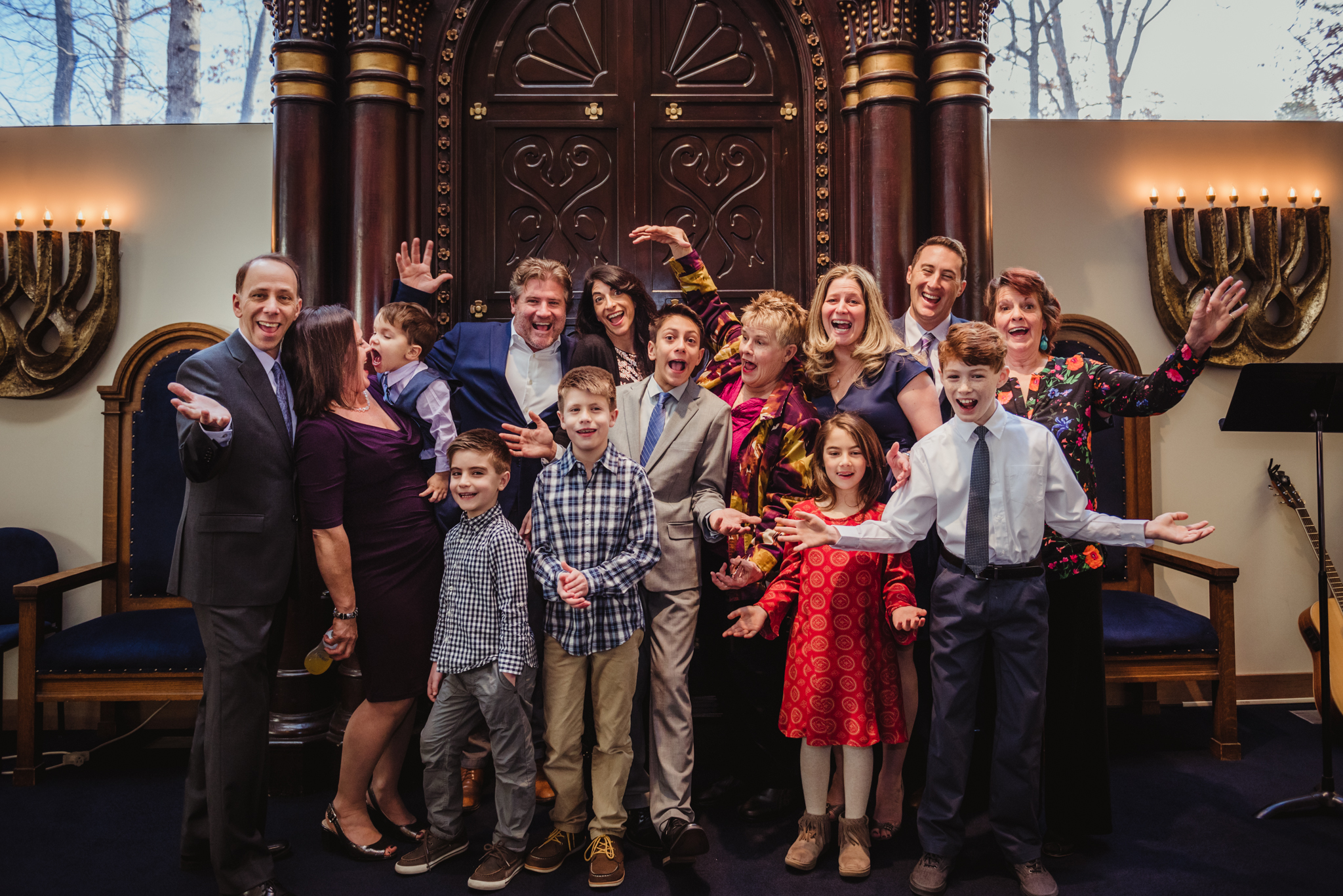 Noah's Family celebrates together on the bema before he becomes bar mitzvah at Temple Beth Or!