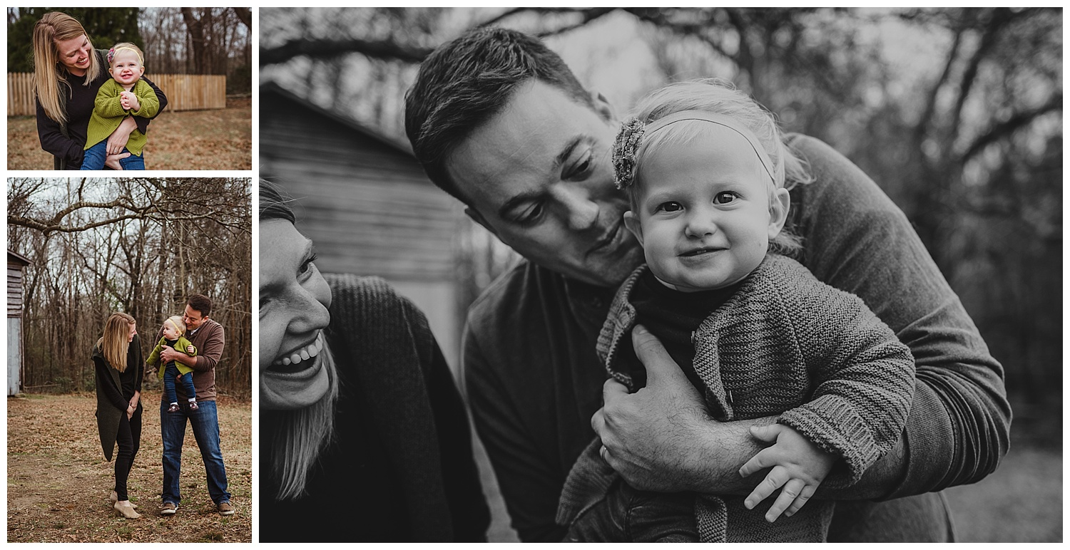 The baby smiles at the camera with her toothy grin during the family of three's photo session in Wake Forest, North Carolina.