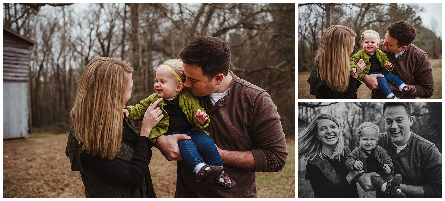 The baby laughs at her mommy during the family of three's photo session in Wake Forest, North Carolina with Rose Trail Images.