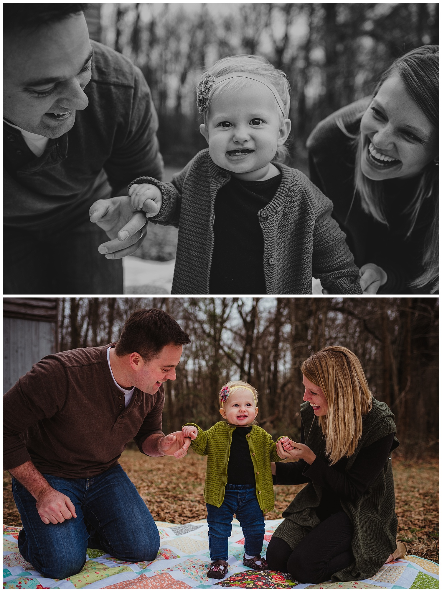 The parents smile at their daughter during their family photo shoot in Wake Forest, North Carolina.