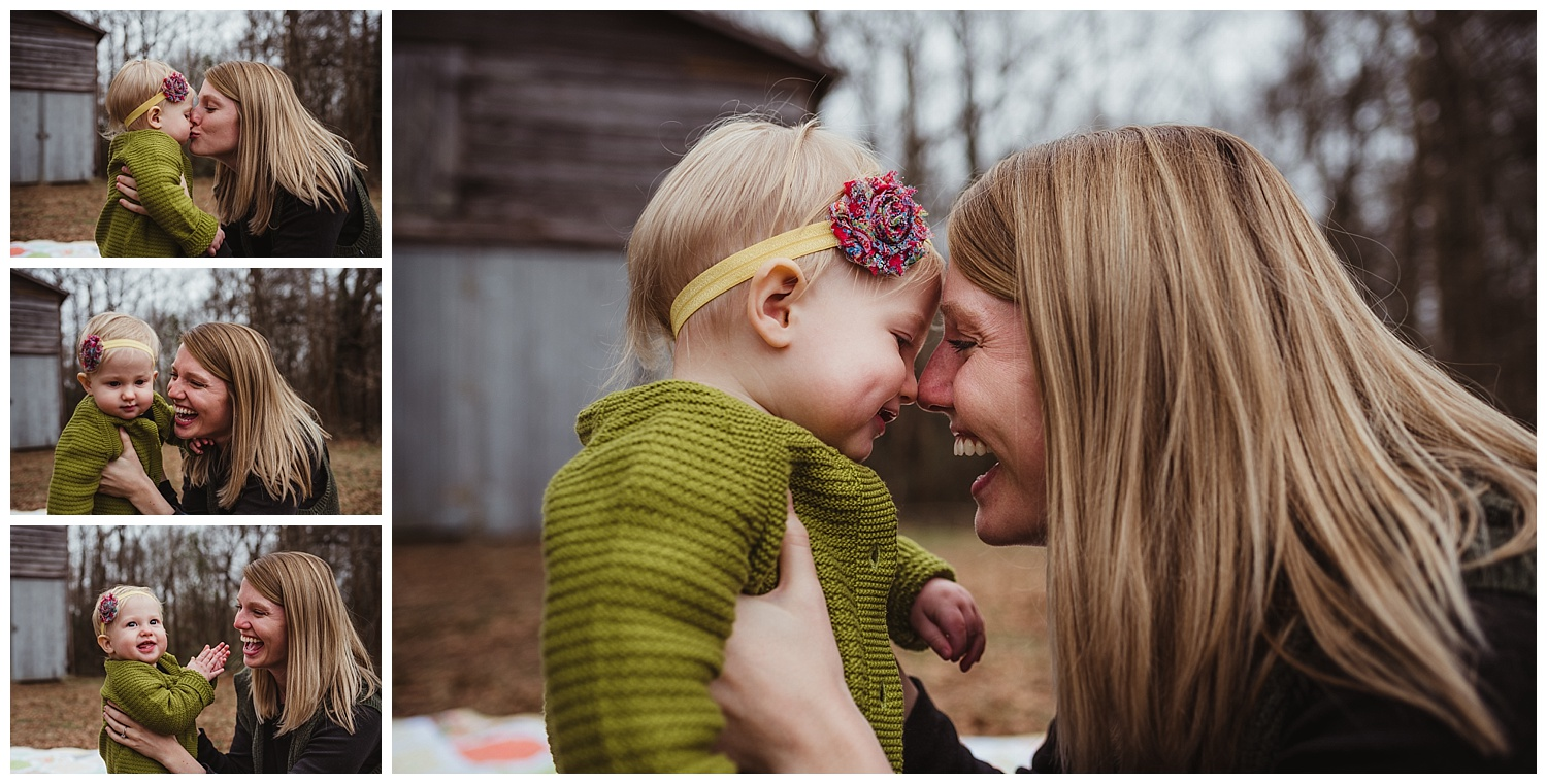 Mommy and her baby daughter share nose kisses and laughs during their family photo shoot with Rose Trail Images in Wake Forest, North Carolina.