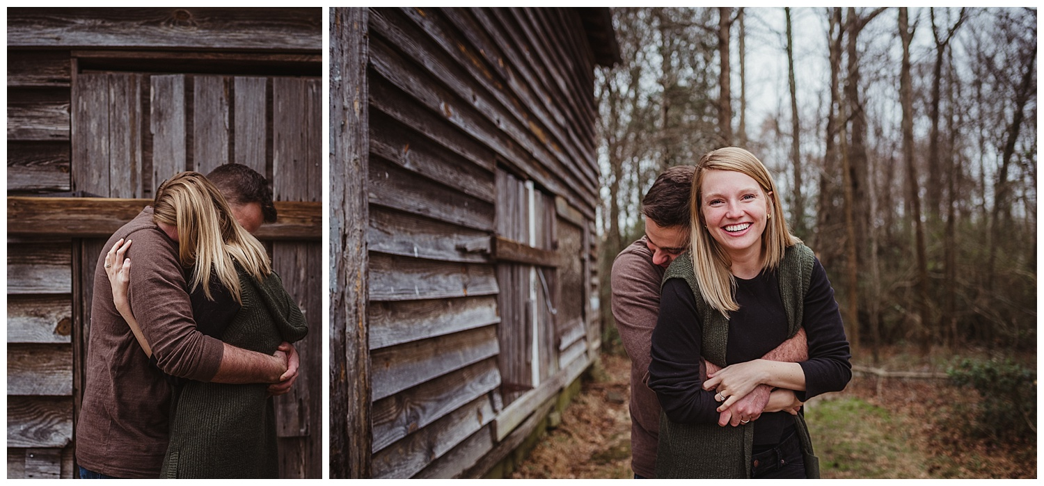 The parents have a moment of love while they hug during their family photo session with Rose Trail Images in Wake Forest, North Carolina.