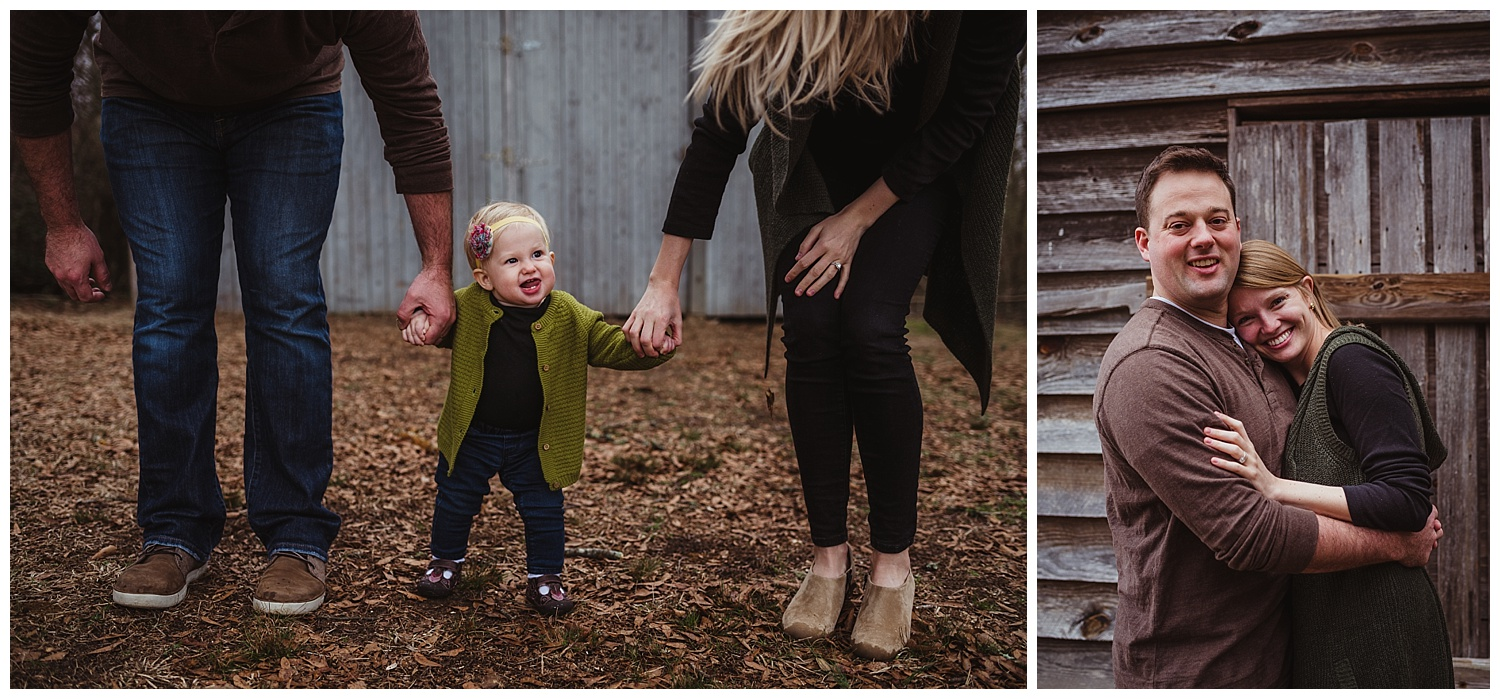 The family of three posed in front of the barn together for their family photo session with Rose Trail Images in Wake Forest, North Carolina.