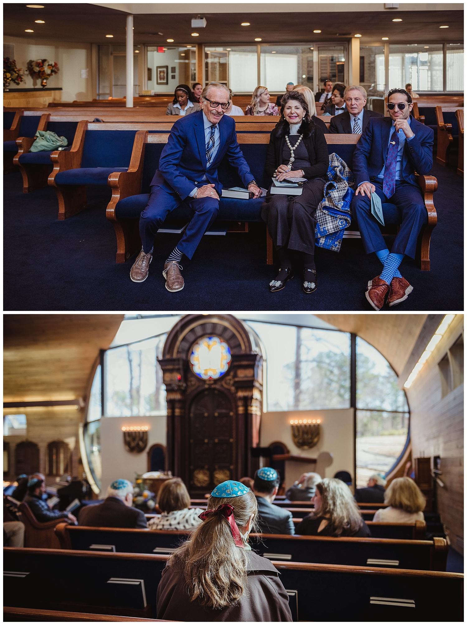 Family waiting in the sanctuary before the ceremony of Andrew becoming bar mitzvah at Temple Beth Or in Raleigh, NC.
