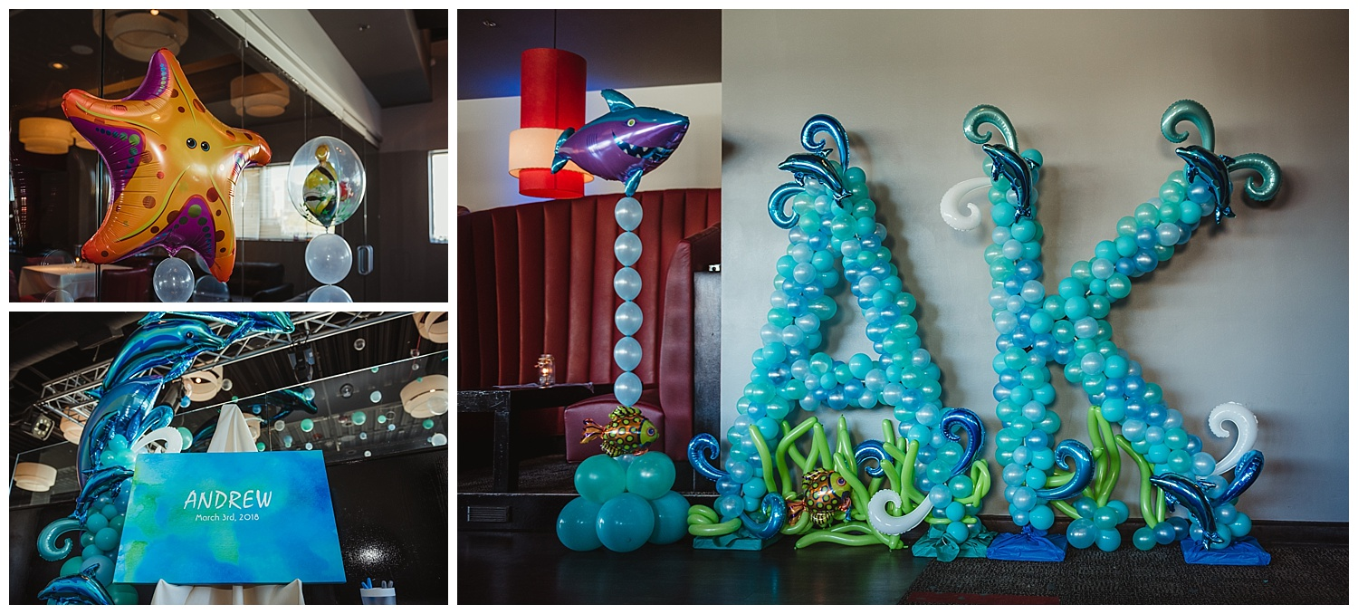 """Amazing Balloons decorated the entire space at Solas in an """"Under the Sea"""" theme for Andrew's mitzvah celebration in Raleigh, NC."""