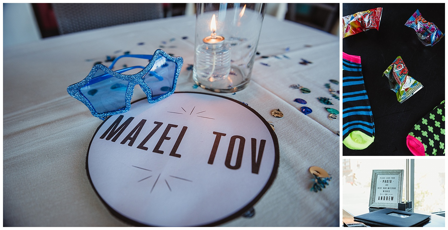 Details, such as fun glasses, a photo book, ring pops and bright socks help make the mitzvah celebration unique at Solas Nightclub in downtown Raleigh, NC.