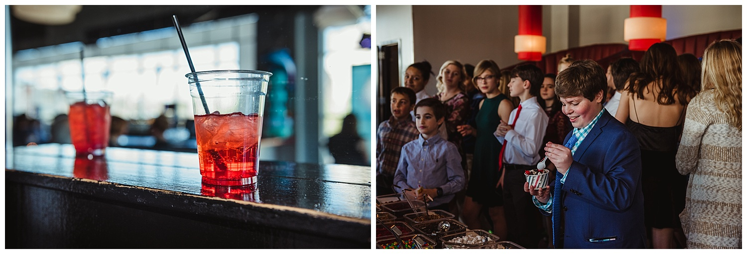 Shirley Temples and ice cream from Goodberry's were eaten during the mitzvah celebration at Solas nightclub in downtown Raleigh, NC.