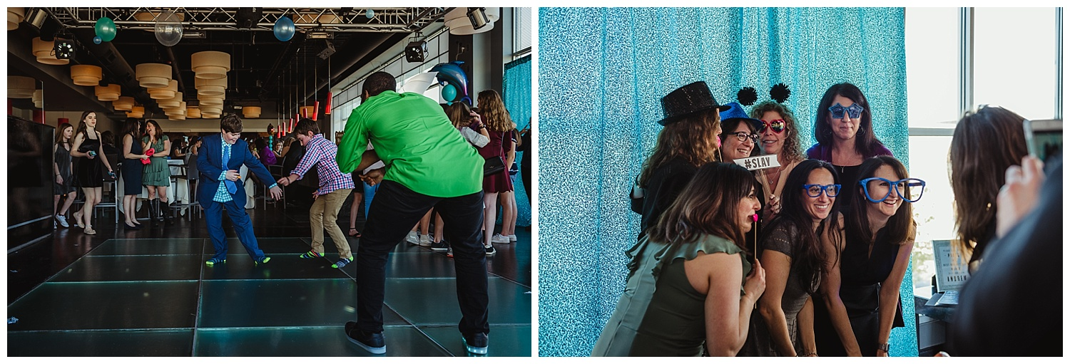 People enjoyed dancing and the photo booth by ZimZoom during the mitzvah celebration at Solas nightclub in downtown Raleigh, NC.