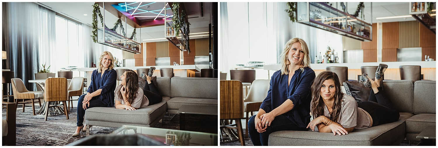 Sarah and Liz from Metro's Other Woman had a great time posing for headshots and branding photos with Rose Trail Images at Level7 Rooftop Bar in Raleigh, NC.
