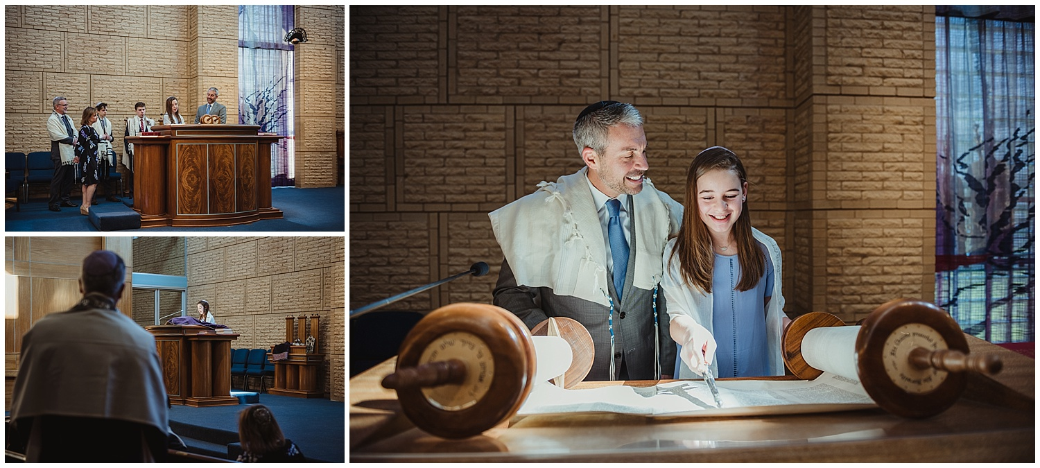 The Mitzvah girl practices her Torah portion with the Rabbi while on the bema at Beth Meyer Synagogue in Raleigh, NC.