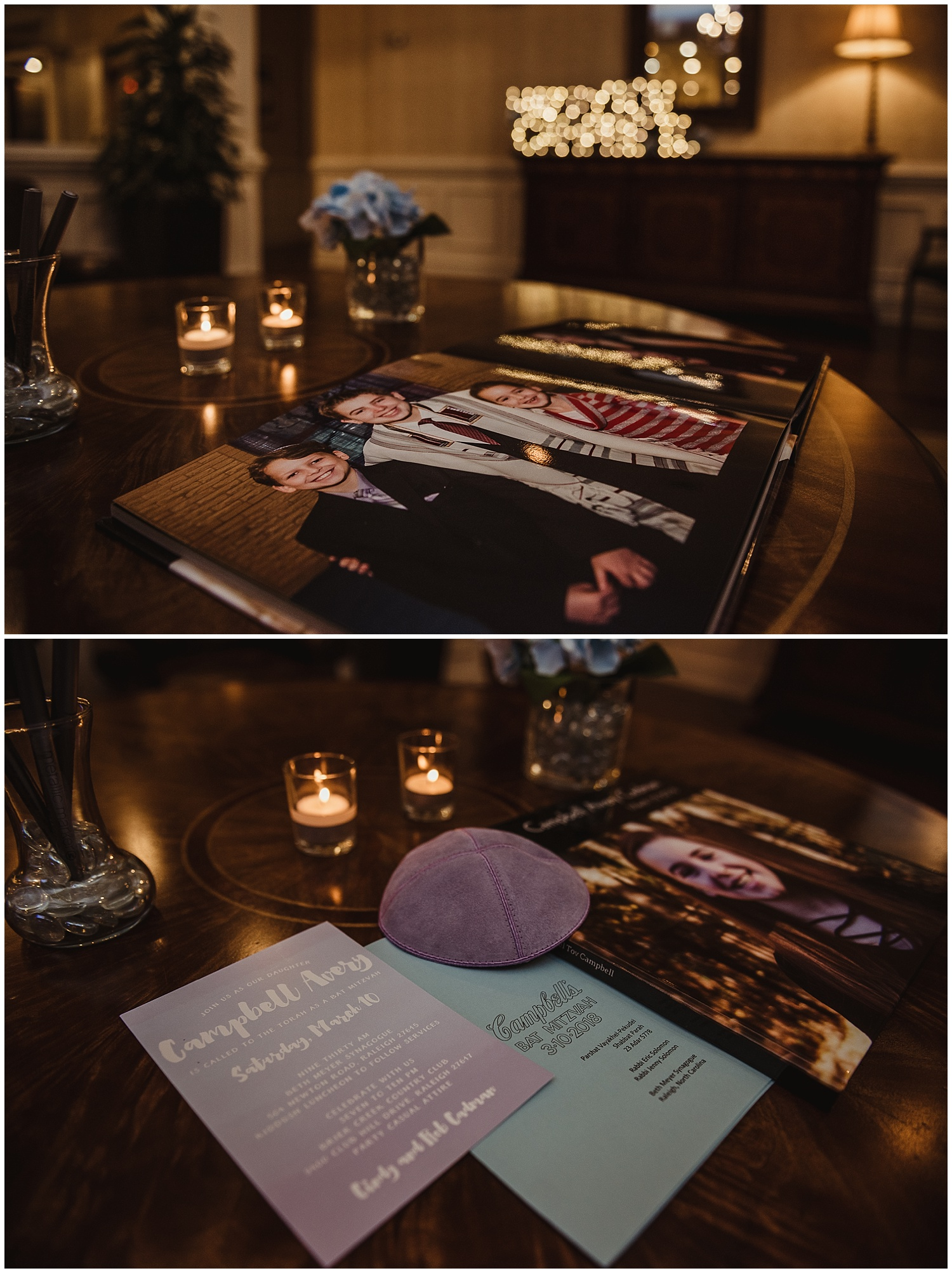 Details of the mitzvah reception include the invitation, the program from the ceremony, a guest book to sign, and marquee letters at the Briar Creek Country Club in Raleigh, NC.