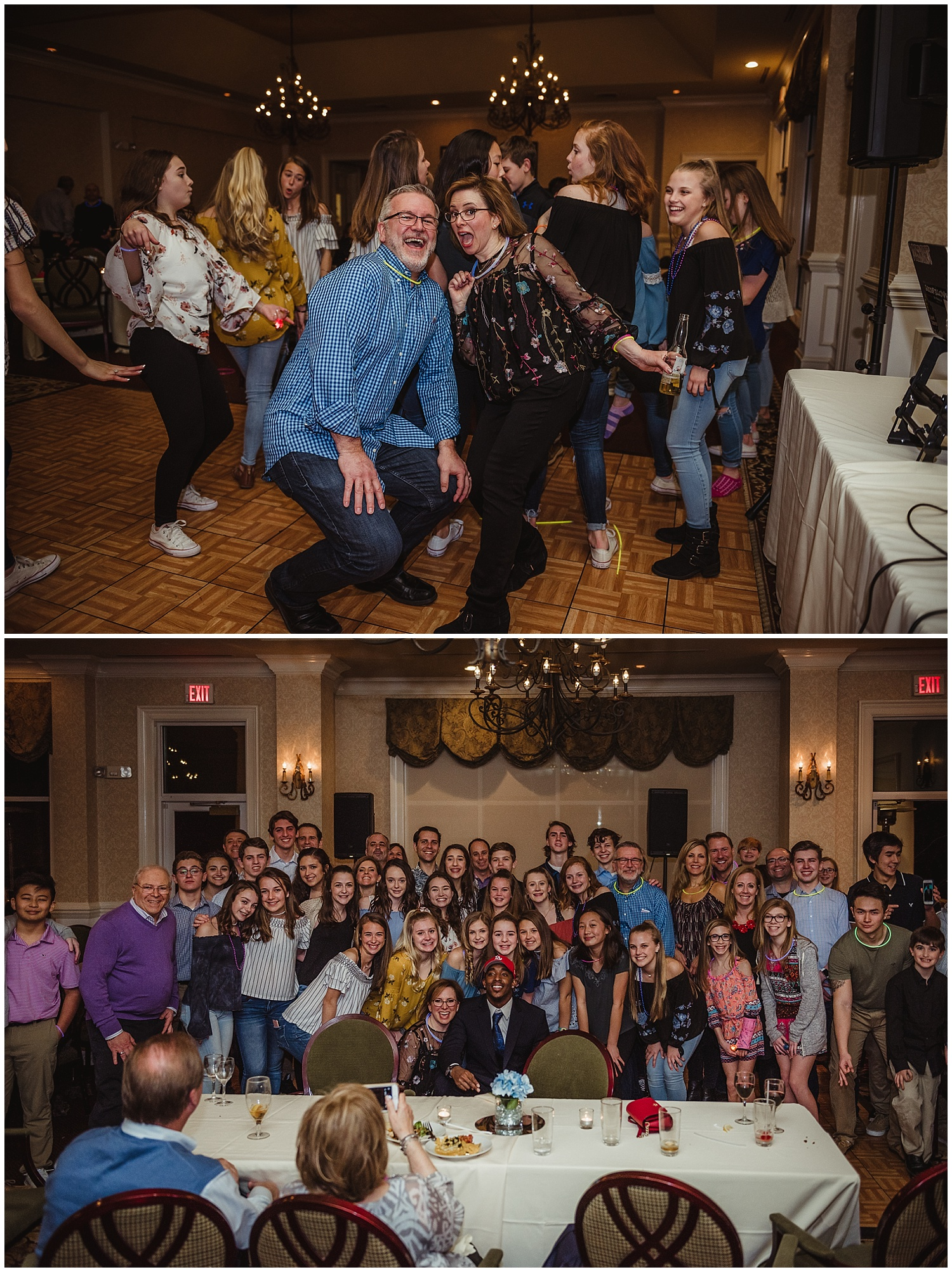 Guests pose for a group picture with Rose Trail Images during the mitzvah reception party at the Brier Creek Country Club in Raleigh, NC.